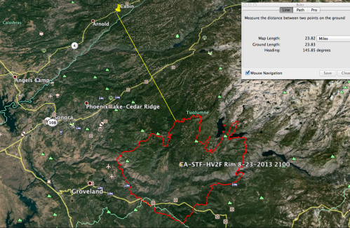 Yosemite Rim Fire Perimeter (Aug 23, 2013)